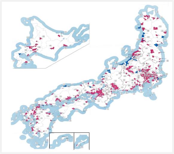 都市ガス事業者の供給エリア