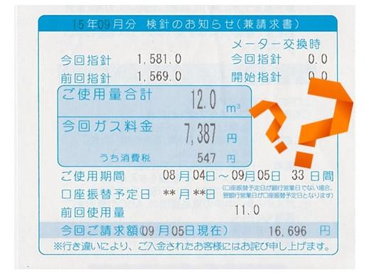 プロパンガス料金の検針票及び請求書