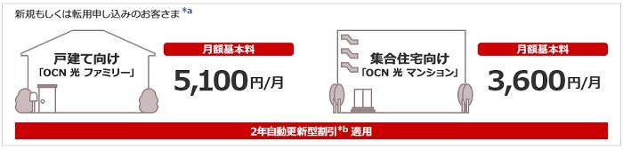 OCN光の安い料金