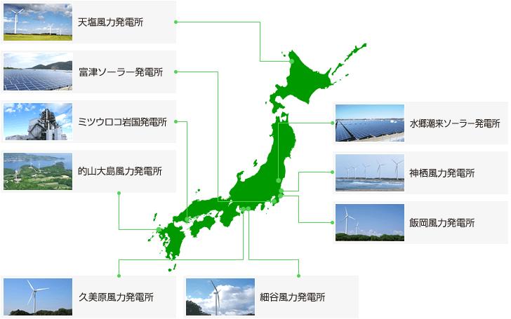 ミツウロコグリーンエネルギー自社所有の発電所