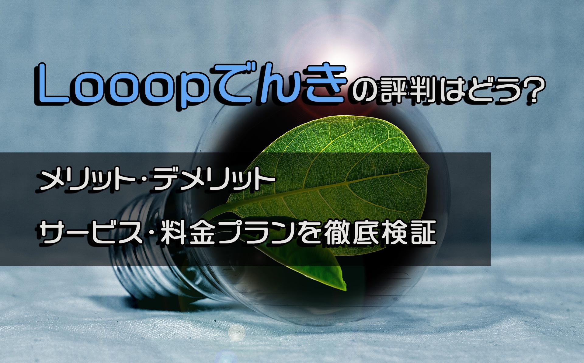 デメリット ループでんき Looopでんき(ループでんき)の評判は?メリットデメリットを徹底検証!|デジタルトランスフォーメーションを支援するはじめてのDX